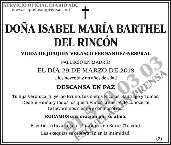 Isabel María Barthel del Rincón